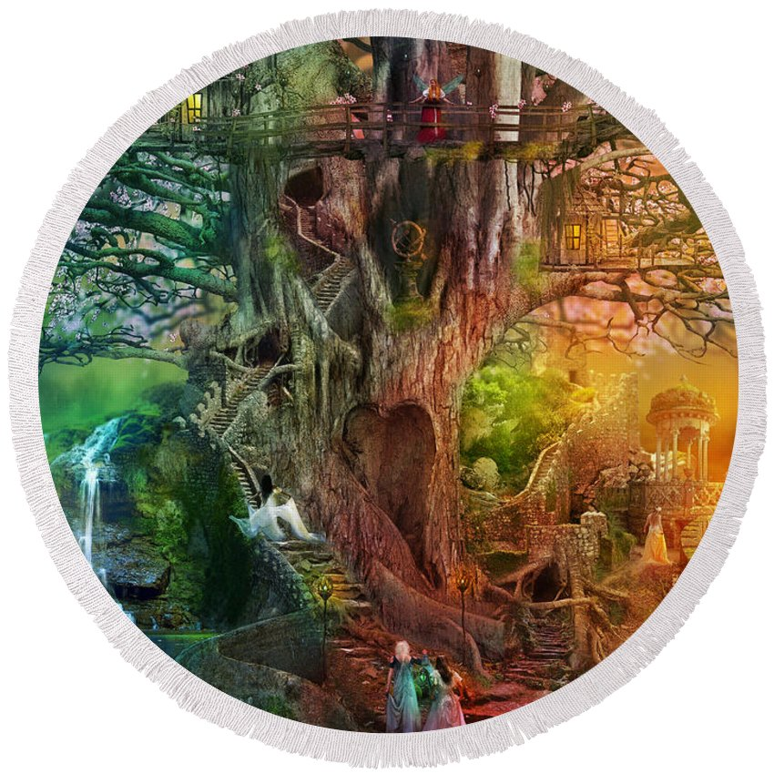 Aimee Stewart Round Beach Towel featuring the digital art The Dreaming Tree by MGL Meiklejohn Graphics Licensing