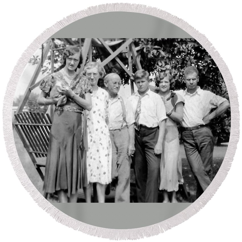 Vintage Round Beach Towel featuring the photograph The Family by Image Takers Photography LLC