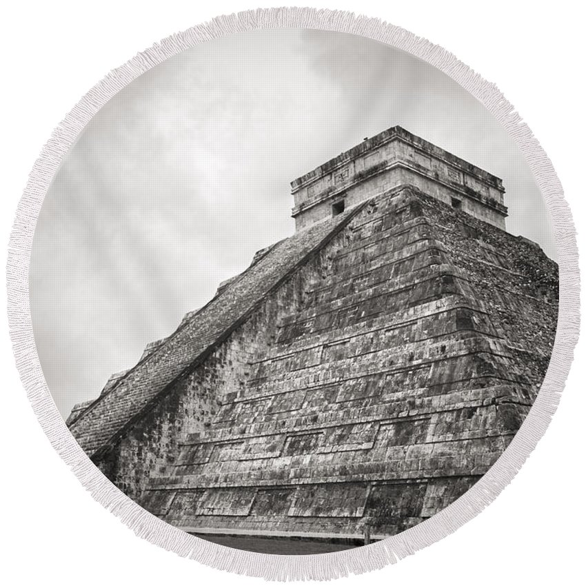 Chichen Itza Round Beach Towel featuring the photograph The Famous Kulkulcan Pyramid At Chichen Itza by For Ninety One Days