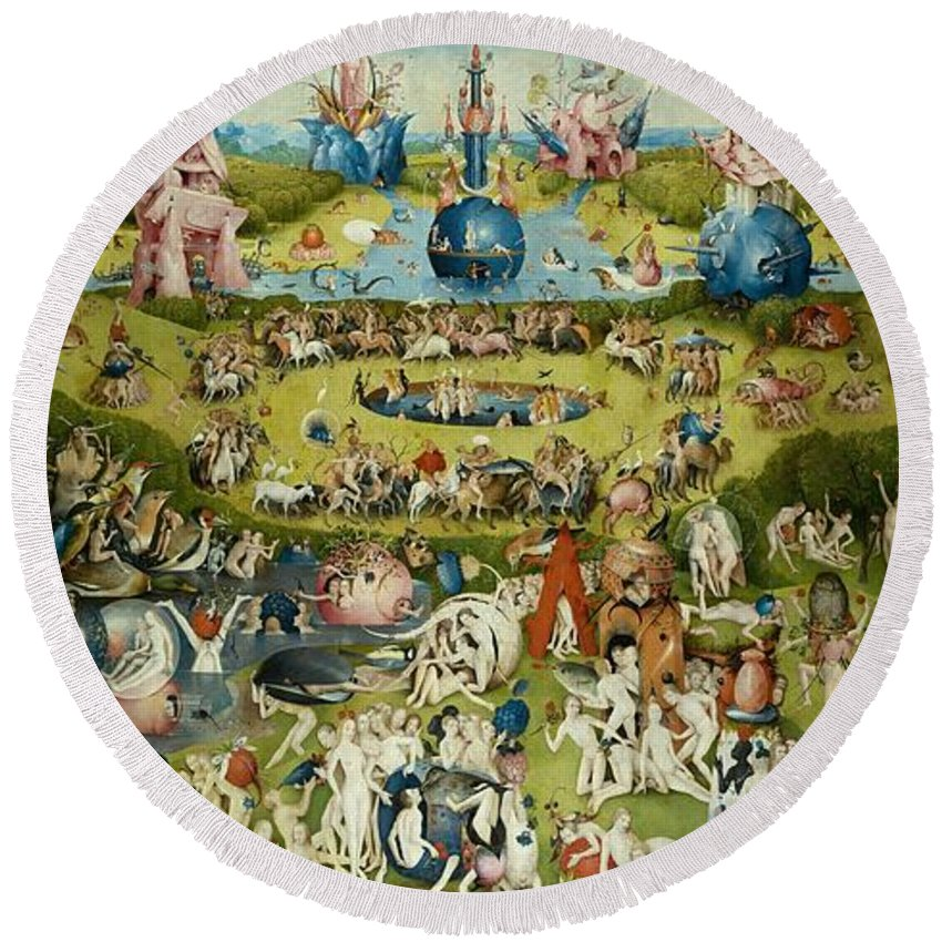 Hieronymus Bosch Round Beach Towel featuring the painting The Garden Of Earthly Delights by Hieronymus Bosch