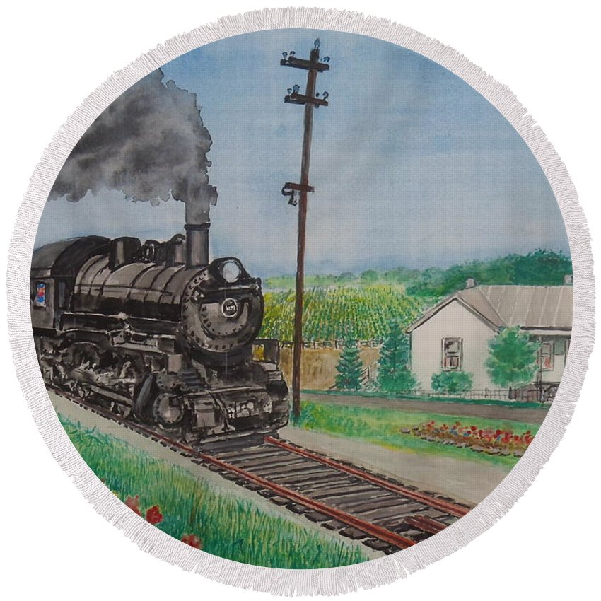 Norfolk And Western Hillsboro Branch Local Ohio Sardinia Walker Jacobs Home My Birthplace White Oak Creek Round Beach Towel featuring the painting The Hillsboro Local Passing My Birthplace At Sardinia by Frank Hunter