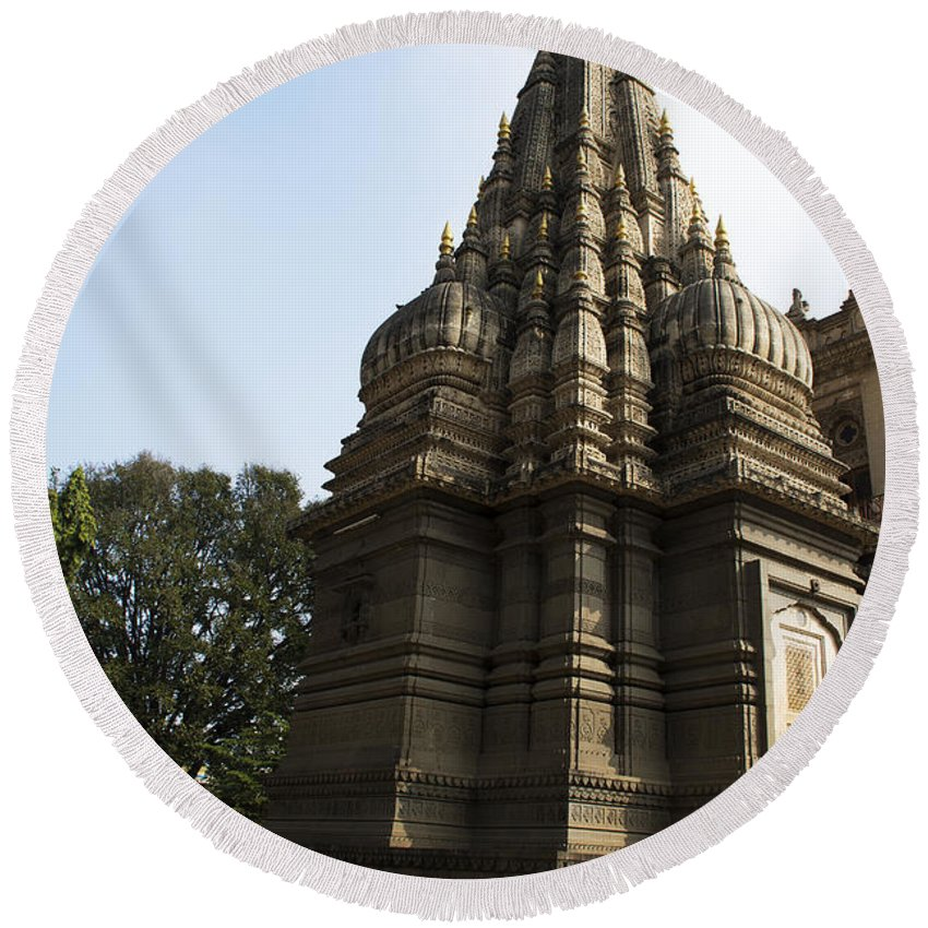 Historical Round Beach Towel featuring the photograph The Hindu Temple by Kiran Joshi