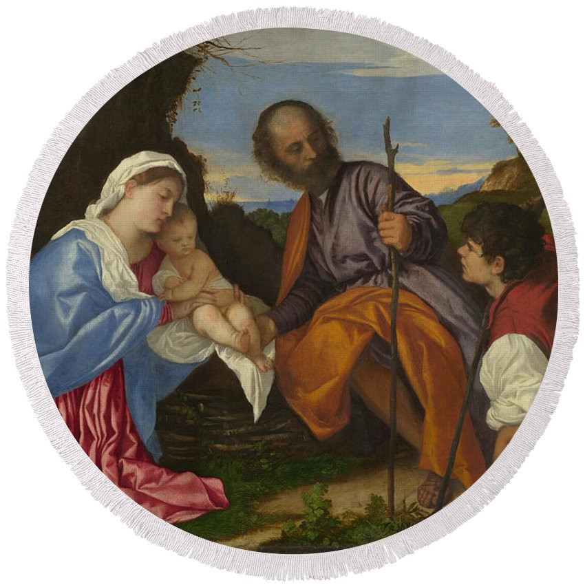 Titian Round Beach Towel featuring the painting The Holy Family With A Shepherd by Titian