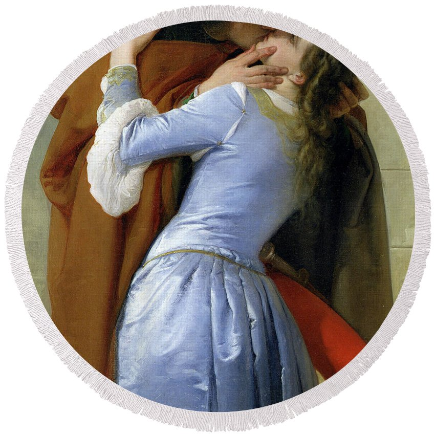 Francesco Hayez Round Beach Towel featuring the painting The Kiss by Francesco Hayez