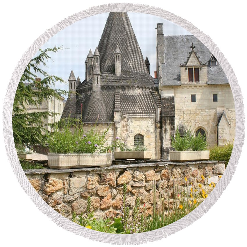 Kitchen Round Beach Towel featuring the photograph The Kitchenbuilding Of Abbey Fontevraud by Christiane Schulze Art And Photography