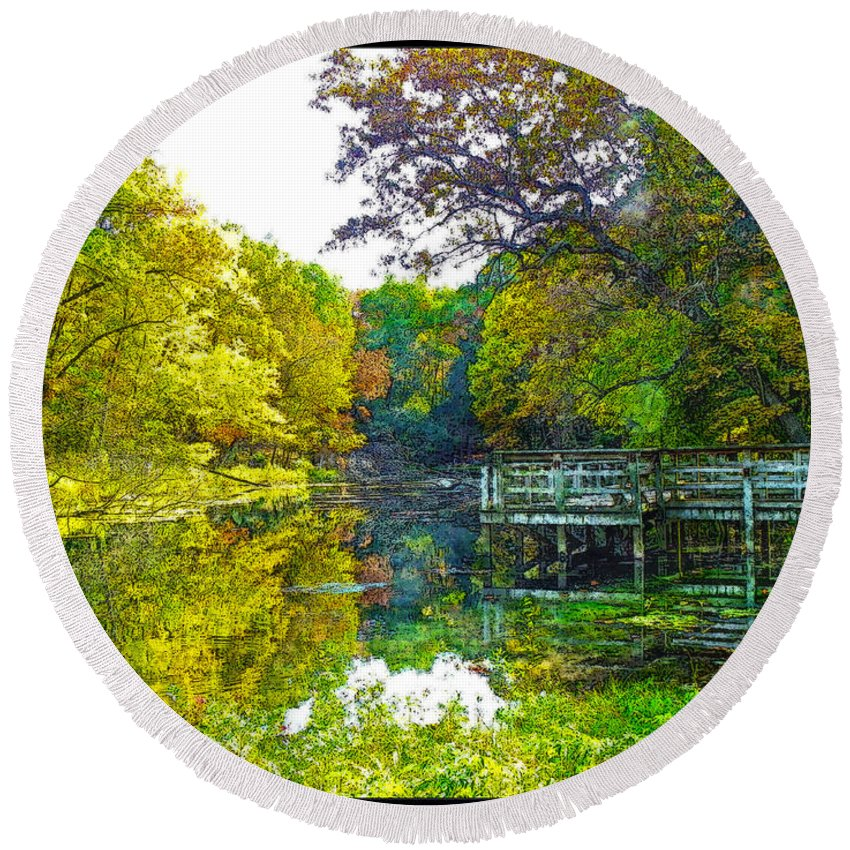 Landscape Round Beach Towel featuring the digital art The Lake... by Tim Fillingim