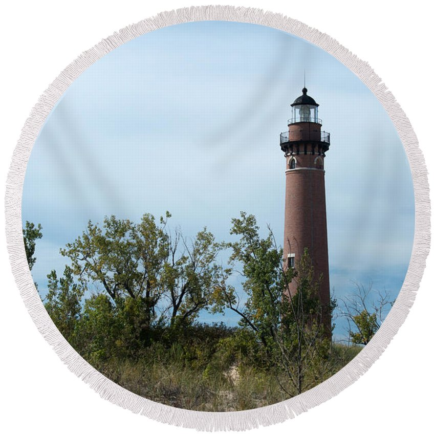 Little Sable Point Lighthouse Round Beach Towel featuring the photograph The Light by Linda Kerkau