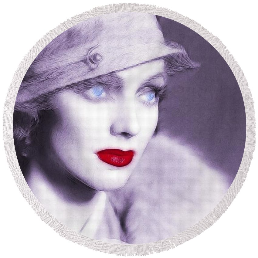 20s 30s Vintage America Golden Times Woman Female Lady Flapper Red Lips Blue Eyes Round Beach Towel featuring the painting The Look Of Love by Steve K