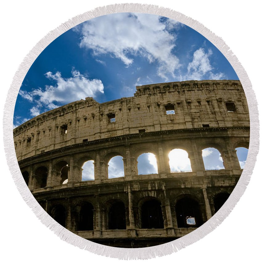 Column Round Beach Towel featuring the photograph The Majestic Coliseum - Rome by Luciano Mortula