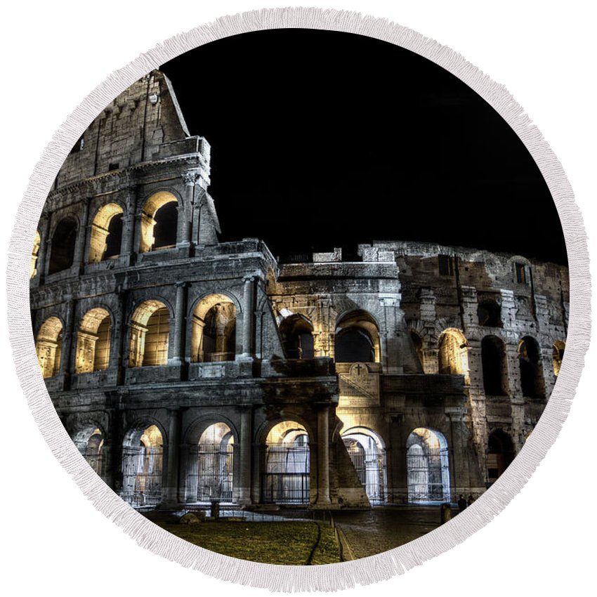 Colosseum Round Beach Towel featuring the photograph The Moon Above The Colosseum No2 by Weston Westmoreland