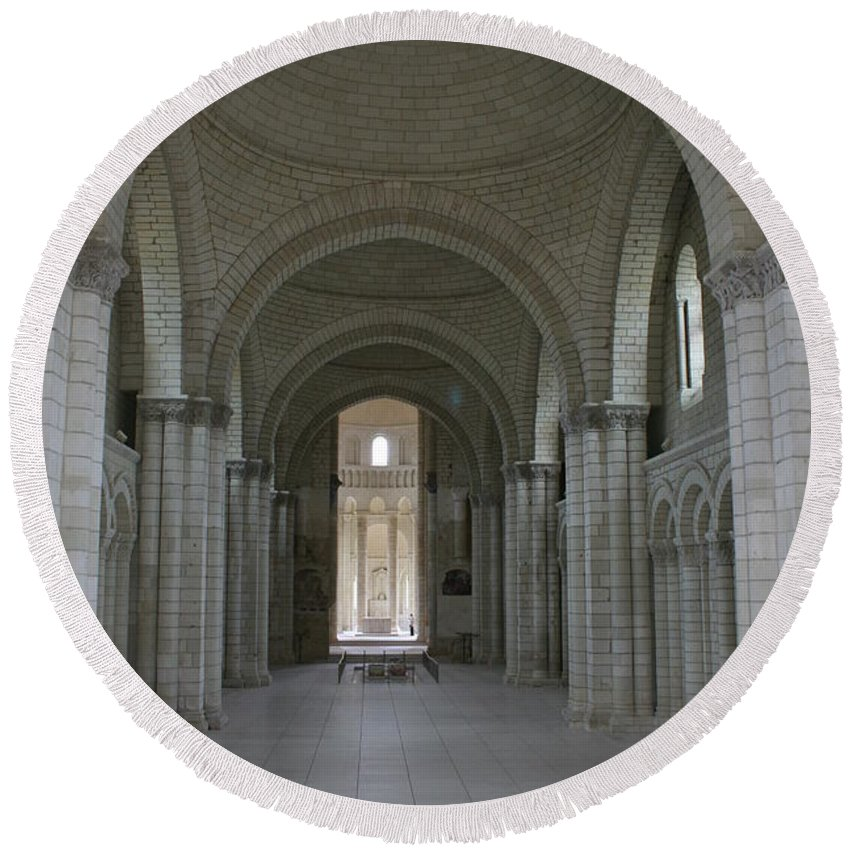 Nave Round Beach Towel featuring the photograph The Nave - Cloister Fontevraud by Christiane Schulze Art And Photography