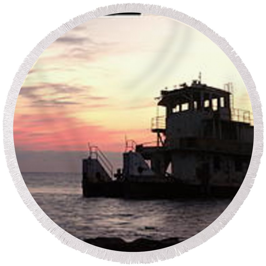 Old Tug Round Beach Towel featuring the photograph The Old Tug by Anthony Walker Sr