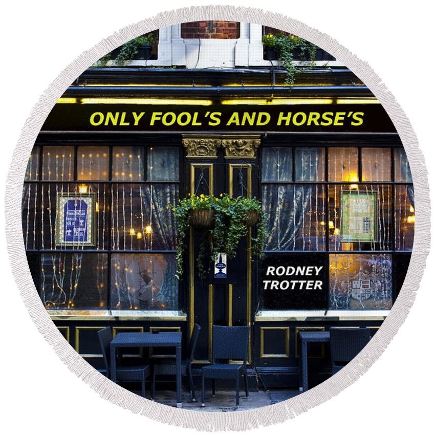 Only Fools And Horse's Round Beach Towel featuring the photograph The Only Fool's And Horse's by David Pyatt