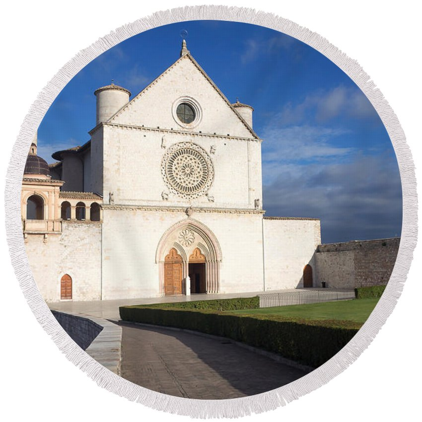 Landmark Round Beach Towel featuring the photograph The Papal Basilica Of St. Francis Of Assisi by Jaroslav Frank