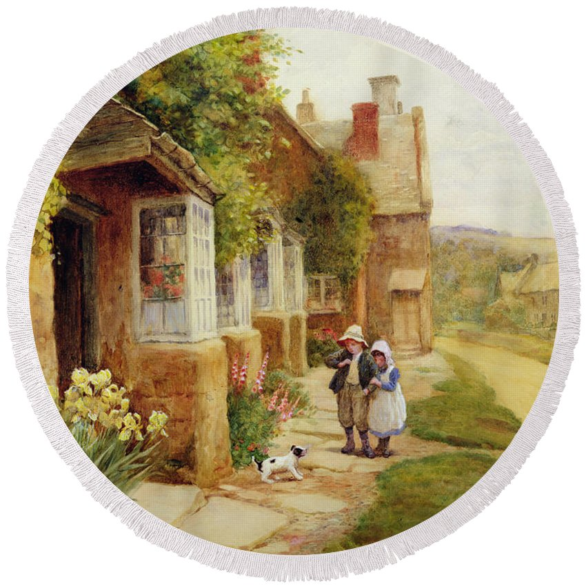 Village Round Beach Towel featuring the painting The Puppy by Arthur Claude Strachan
