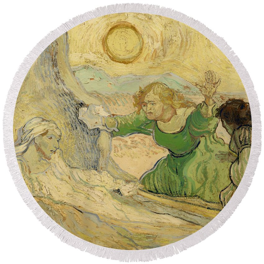 Painting Round Beach Towel featuring the painting The Raising Of Lazarus by Mountain Dreams