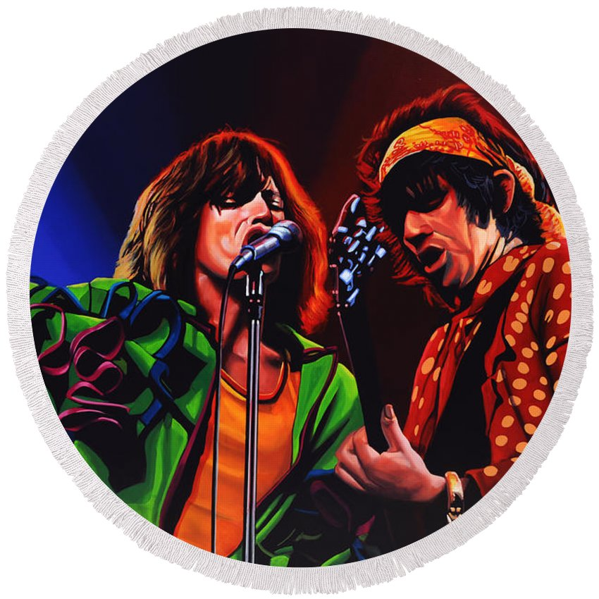 The Rolling Stones Round Beach Towel featuring the painting The Rolling Stones 2 by Paul Meijering