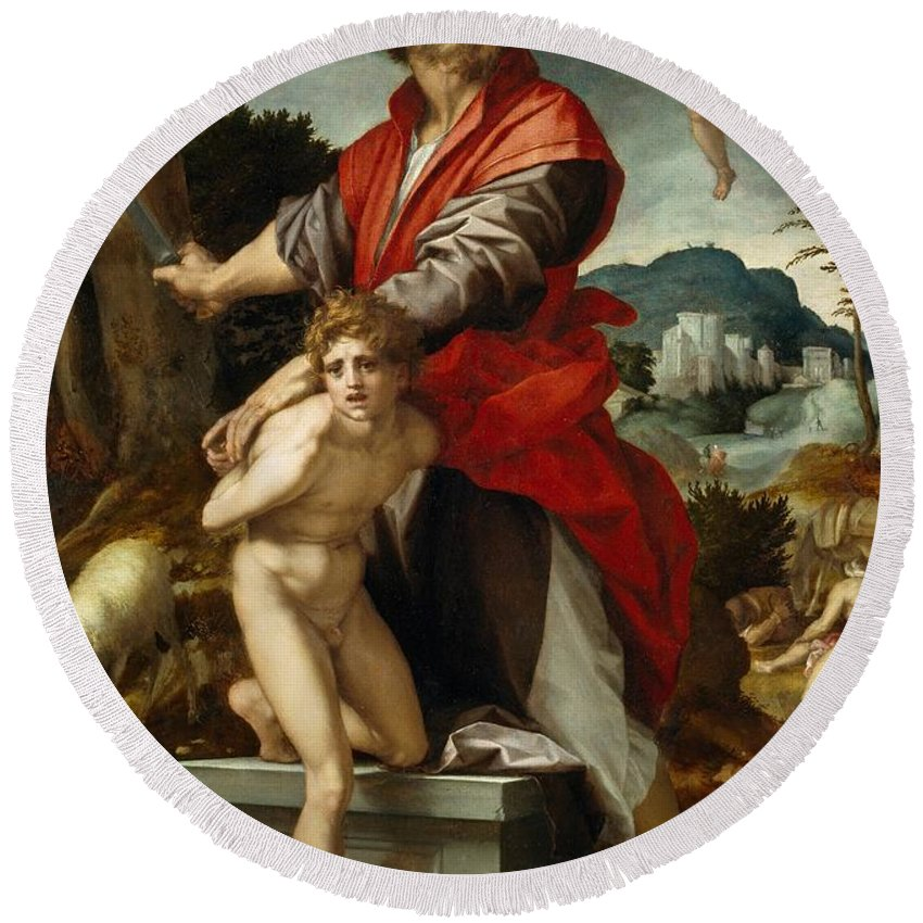 1528 Round Beach Towel featuring the painting The Sacrifice Of Isaac by Andrea del Sarto