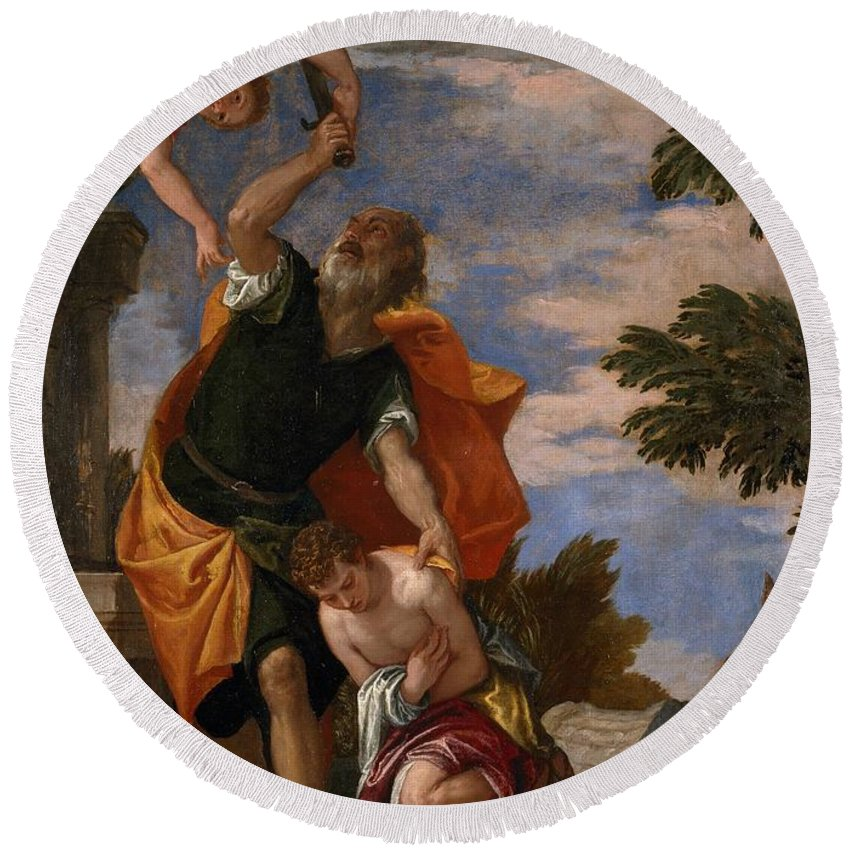 1586 Round Beach Towel featuring the painting The Sacrifice Of Isaac by Paolo Veronese