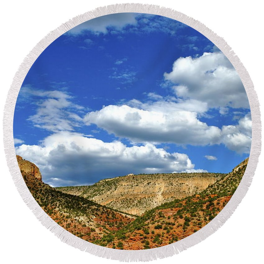 New Mexico Round Beach Towel featuring the photograph The Valley by Wendy Girard