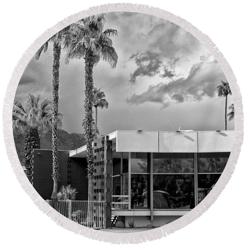 Ocitillo Lodge Round Beach Towel featuring the photograph The View Palm Springs by William Dey