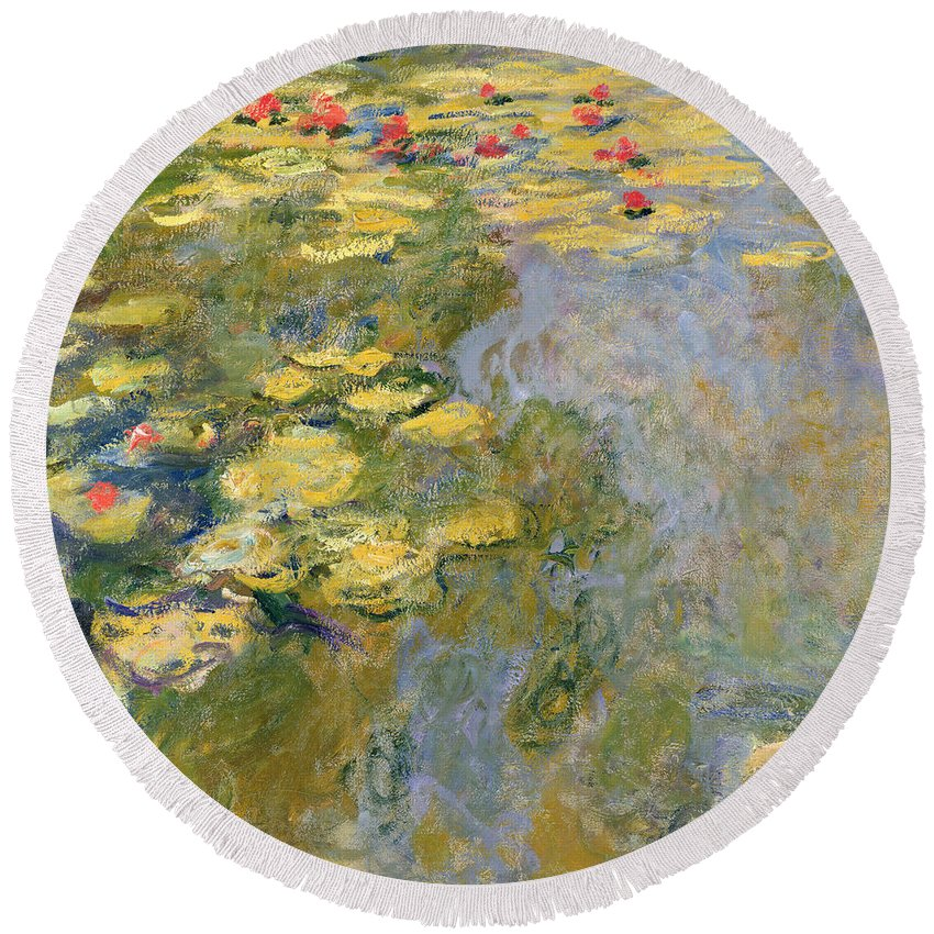 Impressionist Round Beach Towel featuring the painting The Waterlily Pond by Claude Monet