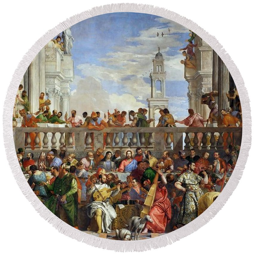 1563 Round Beach Towel featuring the painting The Wedding At Cana by Paolo Veronese