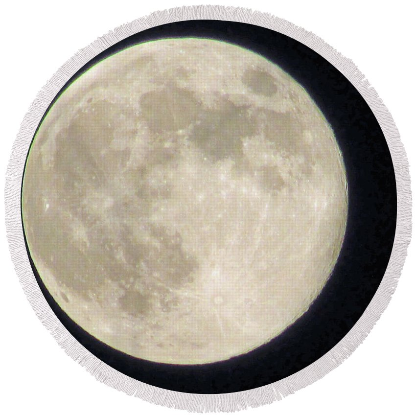 Moon Round Beach Towel featuring the photograph Thunder Moon by Jamie Smith