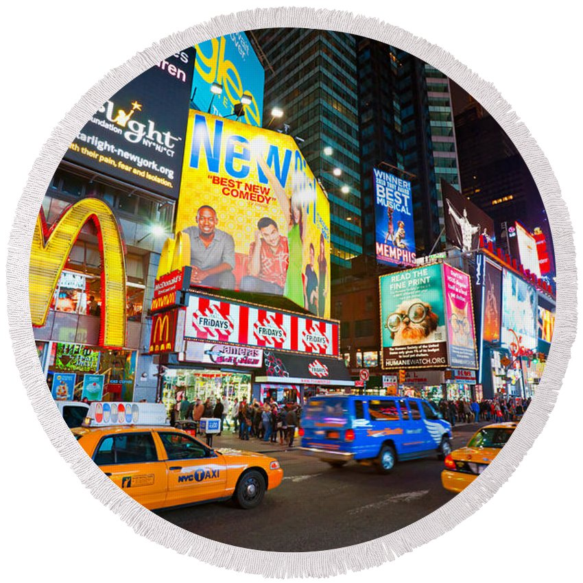 Angle Round Beach Towel featuring the photograph Times Square - New York City by Luciano Mortula