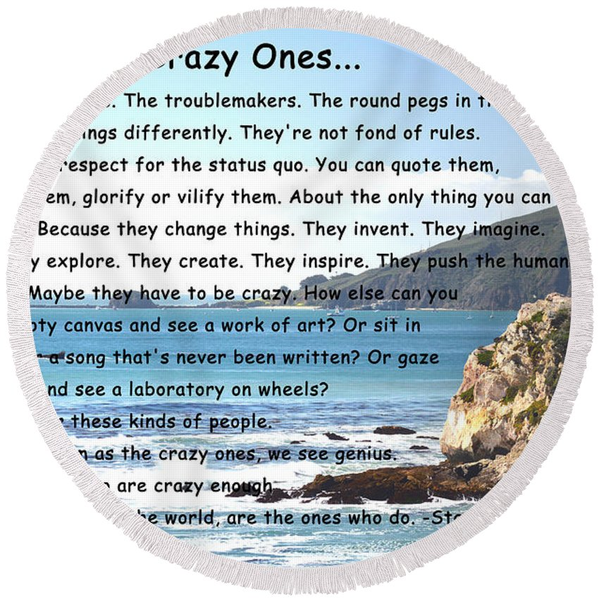 To The Crazy Ones I Round Beach Towel featuring the digital art To The Crazy Ones by Barbara Snyder