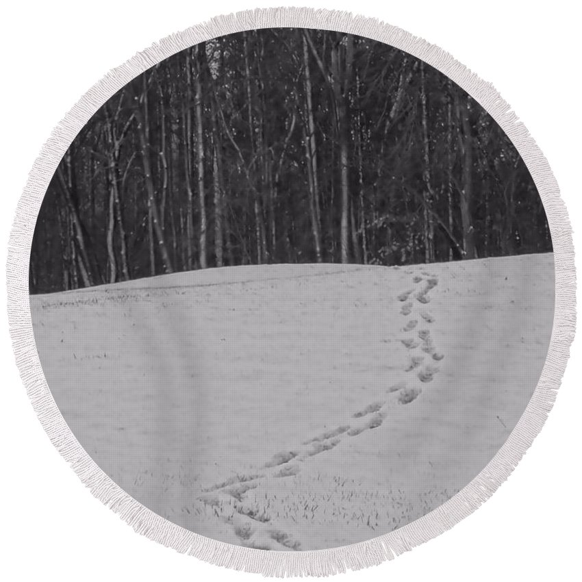Tracks In The Snow Round Beach Towel featuring the photograph Tracks In The Snow by Dan Sproul