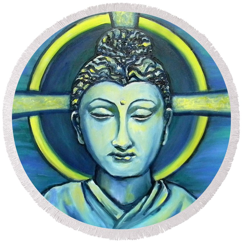 Buddha Round Beach Towel featuring the painting Transcend by Art by Kar