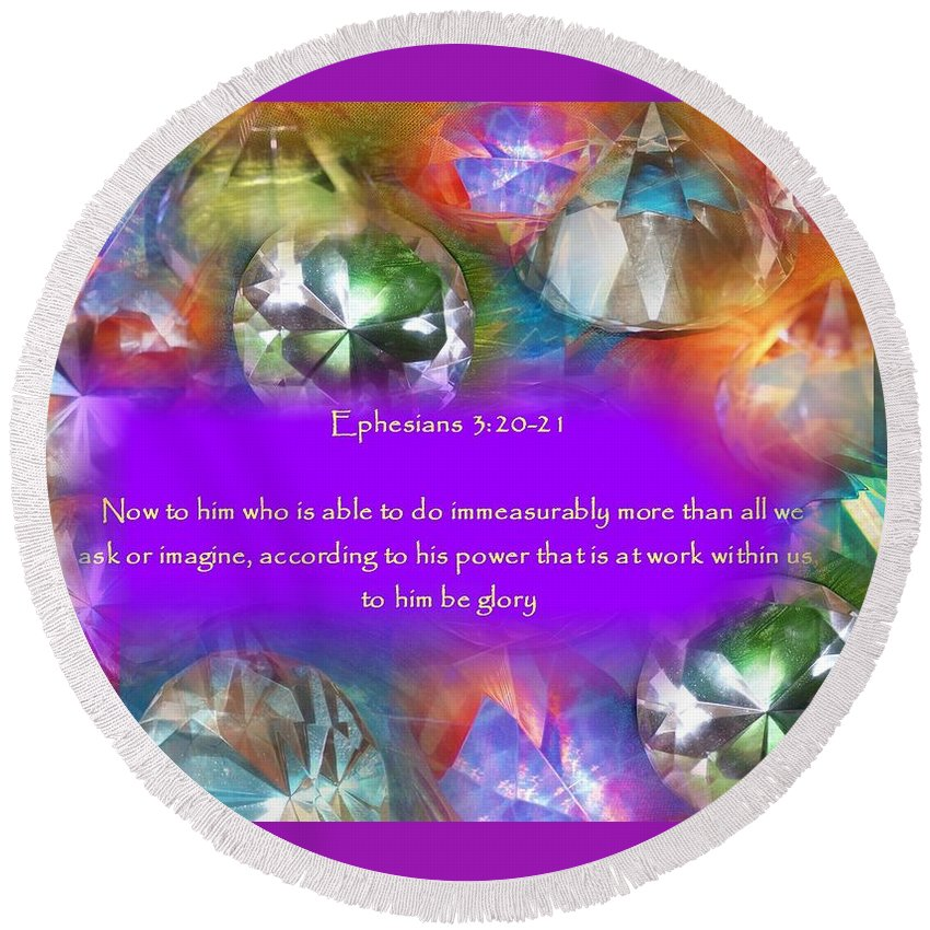 Gems Round Beach Towel featuring the digital art Treasures Of Heaven by Jewell McChesney