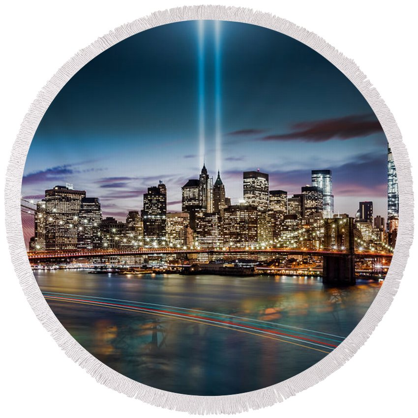 2014 Round Beach Towel featuring the photograph Tribute In Light Memorial by Mihai Andritoiu