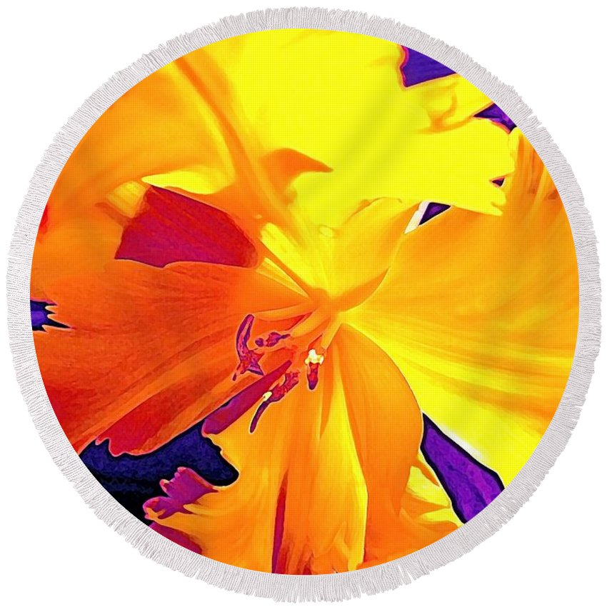 Flower Round Beach Towel featuring the photograph Tulip 6 by Pamela Cooper