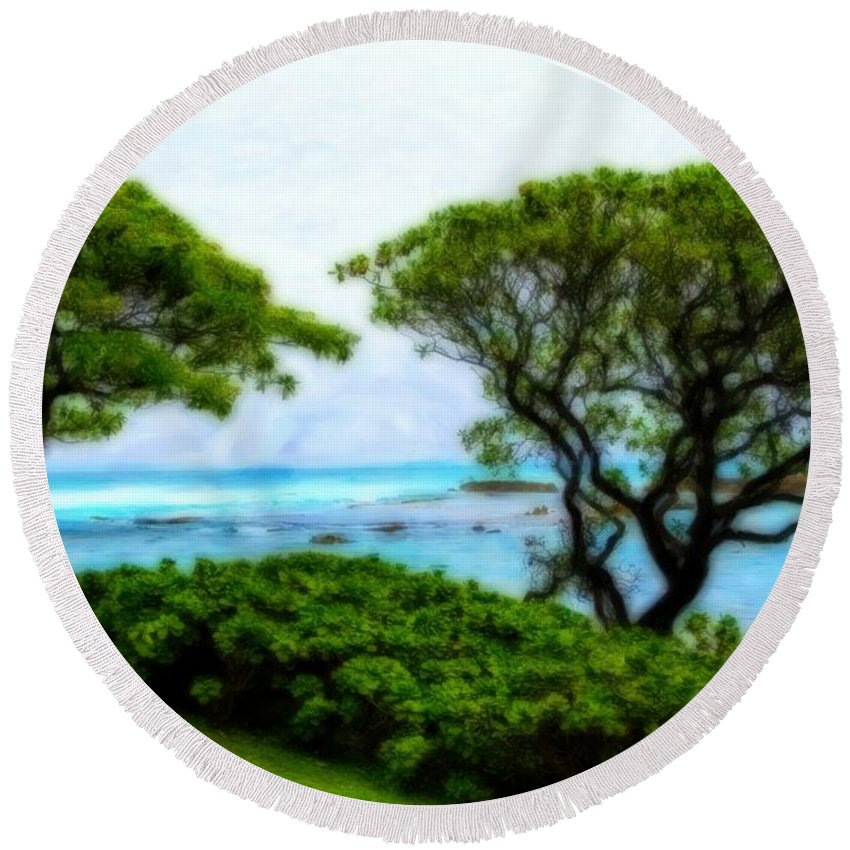 Turtle Bay Round Beach Towel featuring the photograph Turtle Bay View by Jon Burch Photography