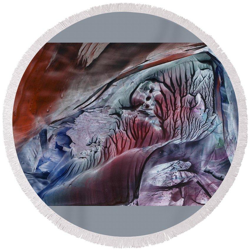 Wax Round Beach Towel featuring the painting Twister by Cristina Handrabur