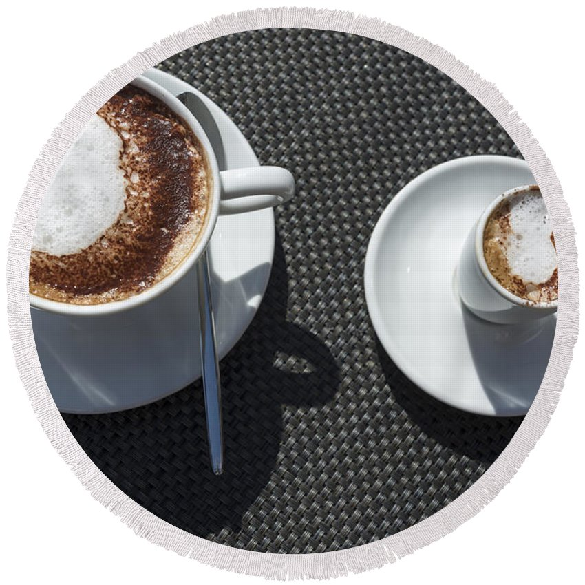 Cup Of Coffee Round Beach Towel featuring the photograph Two Cups Of Coffee by Mats Silvan