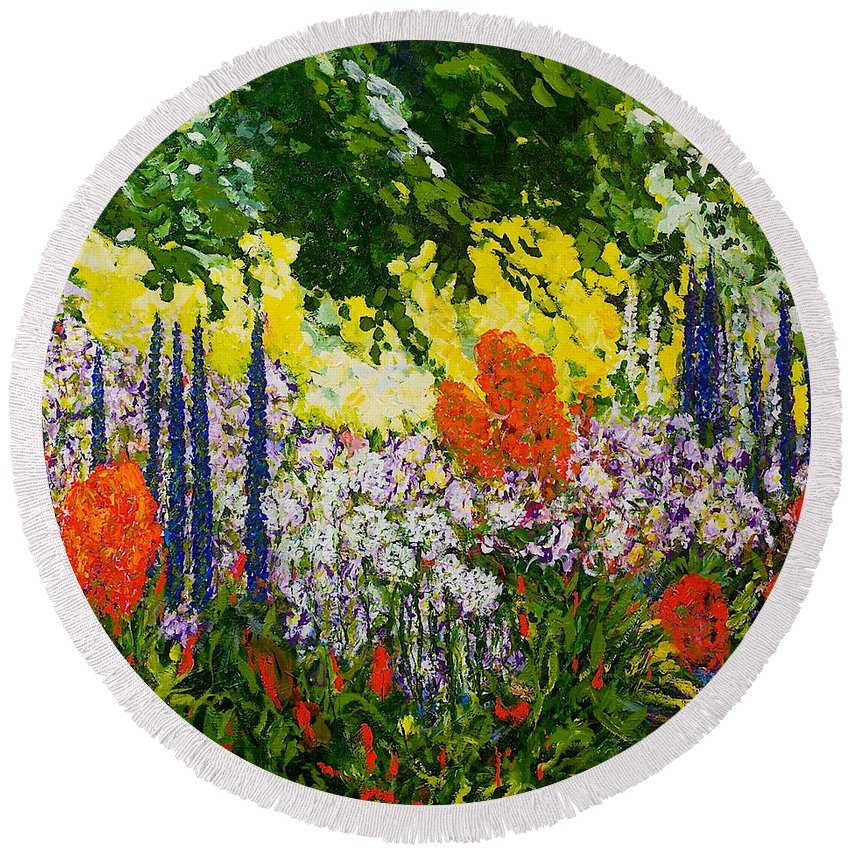 Landscape Round Beach Towel featuring the painting Under The Branch by Allan P Friedlander