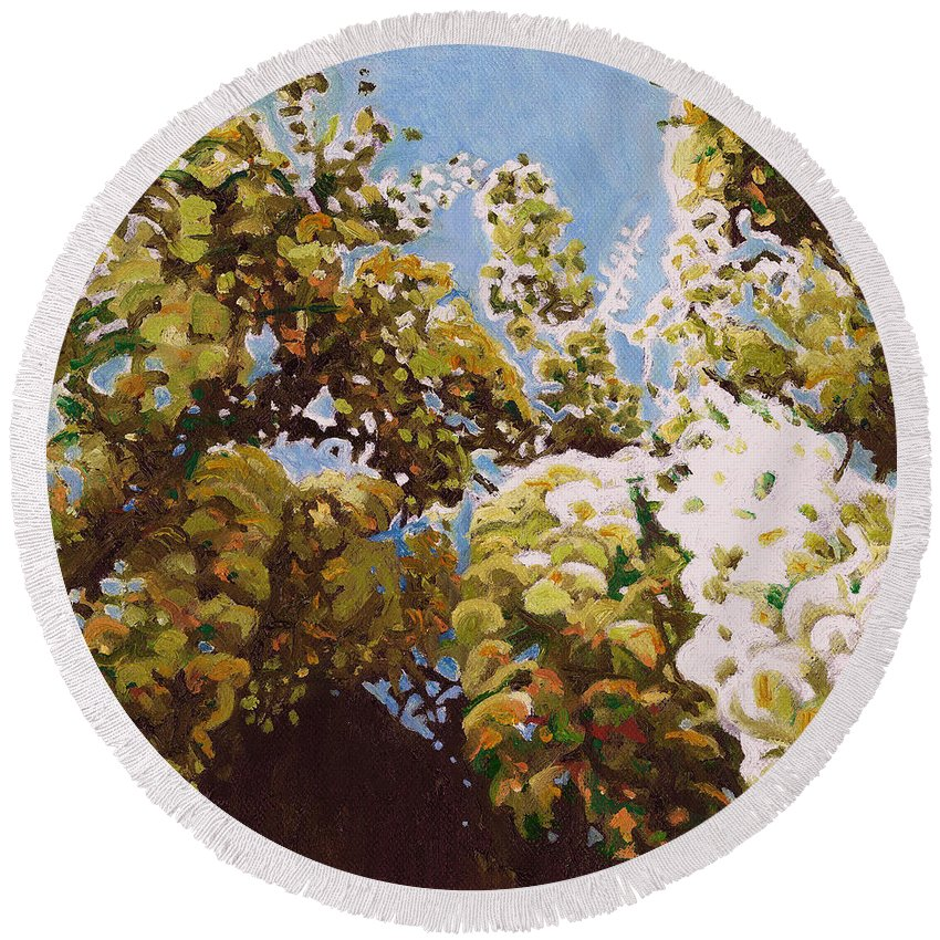 Wisteria Round Beach Towel featuring the painting Up Into Wisteria by Helen White