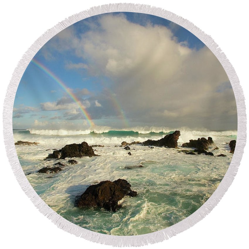 Air Art Round Beach Towel featuring the photograph Usa, Hawaii, Rainbow Offshore by Ron Dahlquist