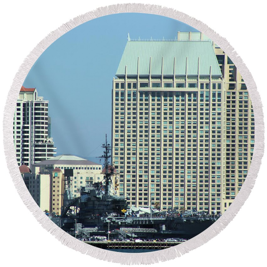 Uss Midway Aircraft Carrier Flagship Round Beach Towel featuring the photograph Uss Midway by RJ Aguilar