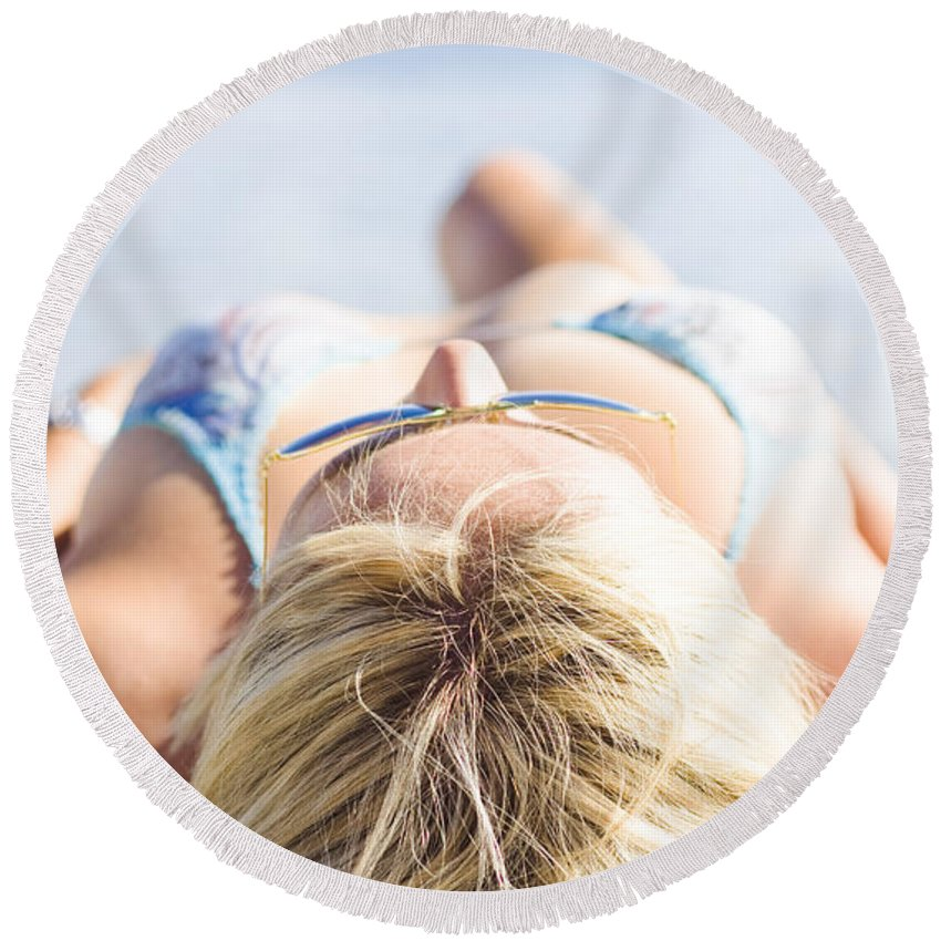 Attractive Round Beach Towel featuring the photograph Vacation Girl Sleeping On Sand by Jorgo Photography - Wall Art Gallery