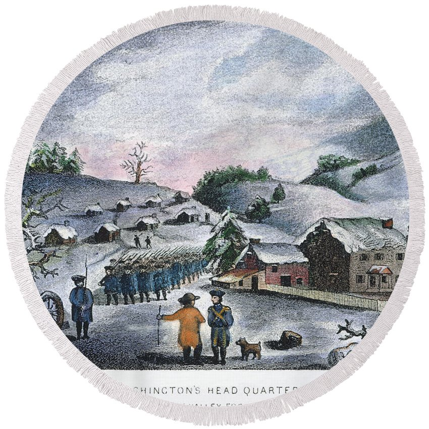 1777 Round Beach Towel featuring the photograph Valley Forge: Winter, 1777 by Granger
