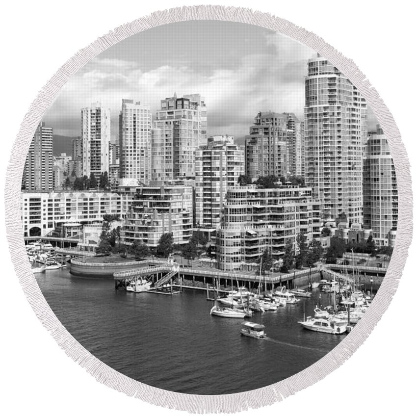 Black And White Round Beach Towel featuring the photograph Vancouver Bc Downtown Skyline At False Creek Canada by Bill Cobb