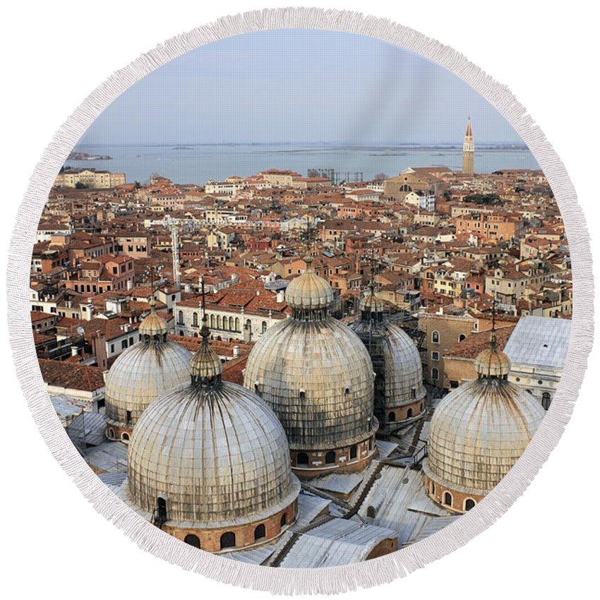 Venice Italy Romantic City Italian Europe European St Saint Marks Dome Roof Roofs Terracotta Round Beach Towel featuring the photograph Terracotta Skyline Venice Italy by Julia Gavin