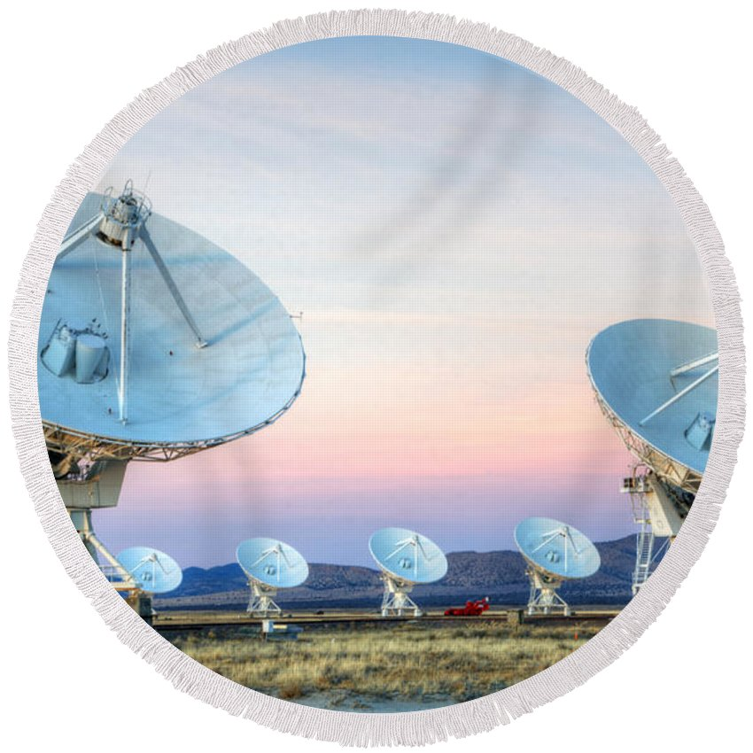 Vla Round Beach Towel featuring the photograph Very Large Array Of Radio Telescopes by Bob Christopher