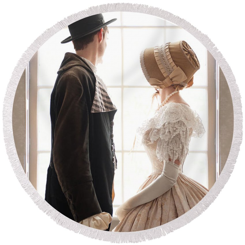 Victorian Round Beach Towel featuring the photograph Victorian Couple Looking Out Of A Window by Lee Avison