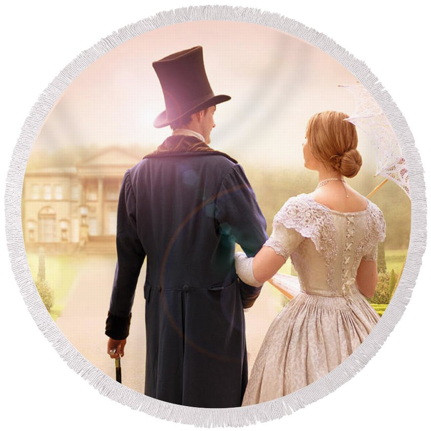 Victorian Round Beach Towel featuring the photograph Victorian Couple Walking Towards A Country Estate by Lee Avison