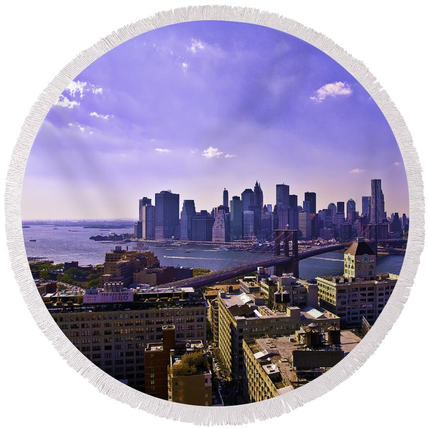 Dumbo Round Beach Towel featuring the photograph View From Dumbo by Madeline Ellis